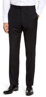 John W. Nordstrom Torino Traditional Fit Flat Front Solid Wool & Cashmere Trousers