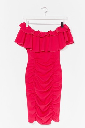 Nasty Gal Womens Are You Frill Down Off-the-Shoulder Mini Dress - Hot Pink