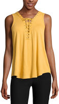 BY AND BY by&by Sleeveless V Neck Crepe Blouse-Juniors
