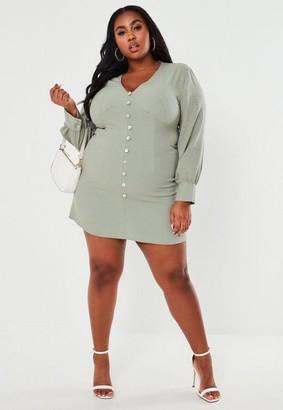 Missguided Size Sage Button Front Mini Tea Dress
