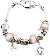 Recyclebabe Bracelets Taurus Charm Bracelet Murano Beads April May C04 Rose Pink Bull Zodiac Sign