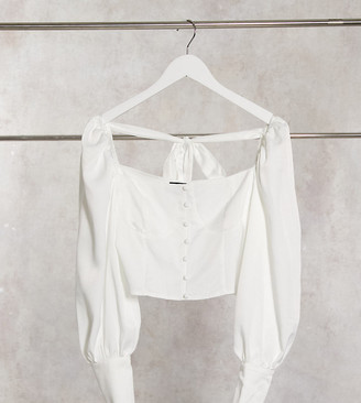 Outrageous Fortune Petite button detail cropped blouse in white