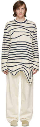 Lanvin Navy and Off-White Stripe Asymmetric Pullover