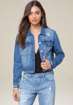 Bebe Raw Hem Crop Denim Jacket