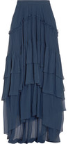 Chloé Ruffled Tiered Silk-mousseline Maxi Skirt - Navy