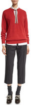Brunello Cucinelli Belted Pinstripe Cropped Pants, Onyx