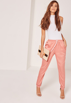 Missguided Tab Ankle Detail Cigarette Trousers Pink