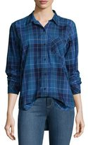 Current/Elliott The Modern Prep School Shirt in Windowpane Check, Blue