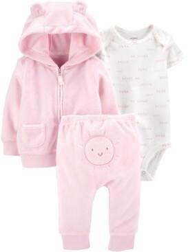Carter's Baby Girls 3-Pc. Sunshine Printed Bodysuit, Bear Hoodie & Pants Set