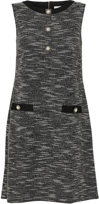 Wallis PETITE Monochrome Jacquard Pearl Button Dress