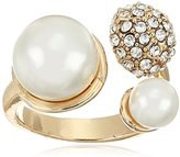 GUESS Pearl Fireball Bypass Ring, Size 7