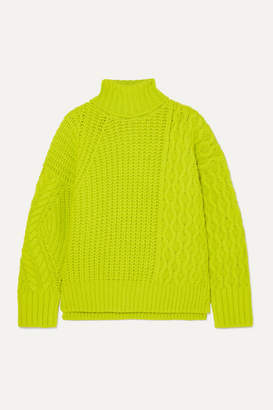 Andersson Bell - Alto Neon Cable-knit Wool-blend Sweater - Chartreuse