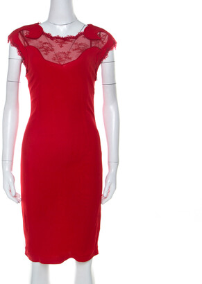 Roberto Cavalli Class By Red Lace Insert Detail Sleeveless Dress M