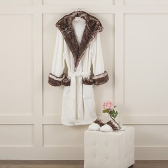 Vellux Faux Fur Trim Small White Robe & Slipper Set