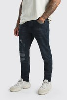 boohoo Mens Blue Worn Skinny Jeans With Ankle Zips, Blue