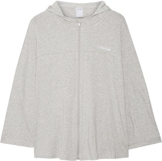 Calvin Klein Embroidered Cotton-blend Hooded Pajama Top