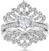 Zales 1-1/3 CT. T.W. Diamond Crowned Bridal Set in 14K White Gold