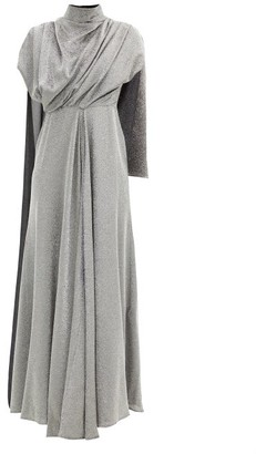 Ellery Dolomith Draped Silk-blend Jersey Maxi Dress - Silver