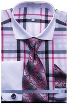 Sunrise Outlet Men`s Multi Color Check French Cuff Shirt Tie Hanky CuffLinks - 16.5 36-37