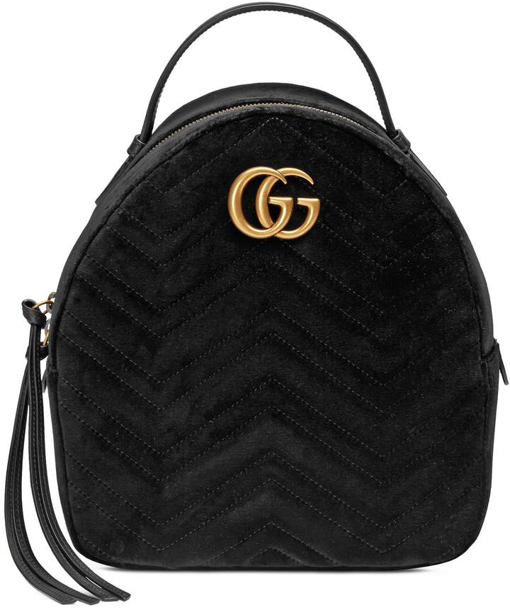 Gucci GG Marmont 2.0 Matelasse Quilted Velvet Backpack