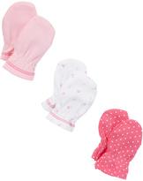 SpaSilk Pink & White Three-Pair Mitten Set