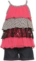 2 Be Real Little Girls Grey Sequined Tiered Top 2 Pc Shorts Set