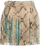 Roberto Cavalli Fringed Croc-Effect Leather Mini Skirt