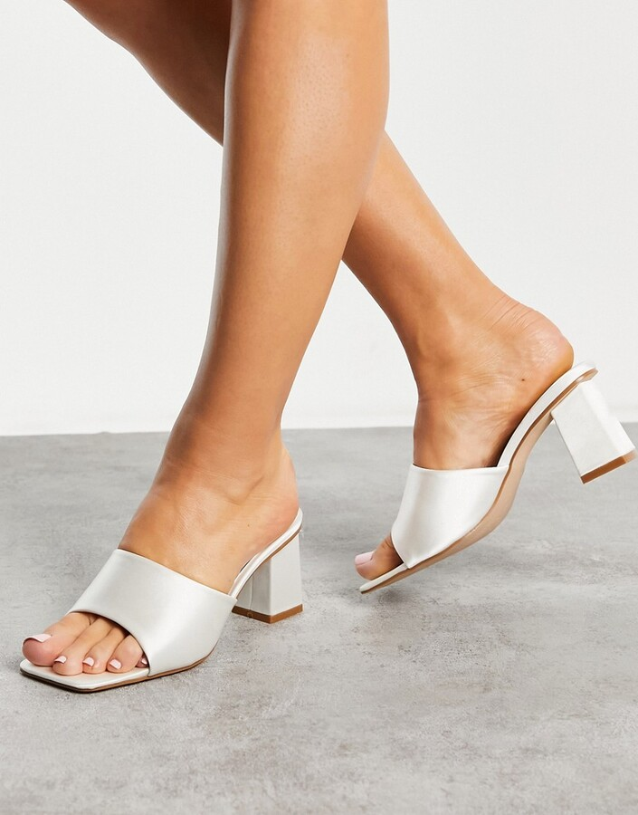 Be Mine Bridal Pia heeled mules in ivory satin