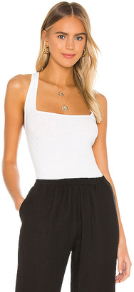 Enza Costa Military Cotton Rib Cropped Cross Back Tank