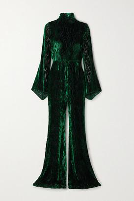 Halpern Glittered Devore-velvet Jumpsuit - Dark green
