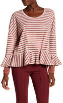 Free People Peplum Hem Striped Blouse