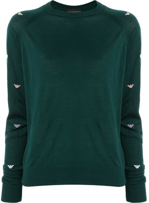 Emporio Armani Logo-Sleeve Knit Sweater