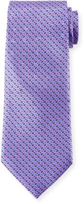 Ermenegildo Zegna Diagonal Geometric Silk Tie, Purple