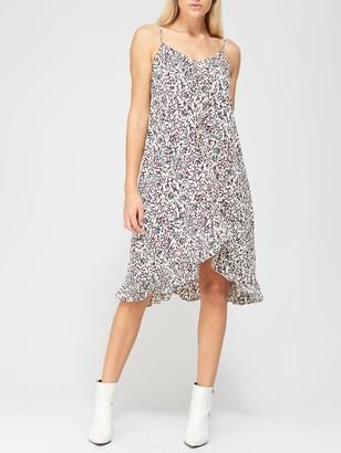 River Island Printed Ruffle Trim Slip Dress - Multi