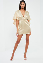 Missguided Nude Satin Flutter Cape Shift Dress