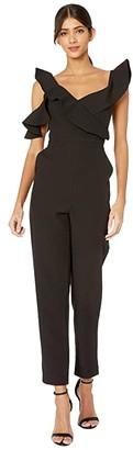 BCBGMAXAZRIA Asymmetrical Off the Shoulder Jumpsuit (Black) Women's Jumpsuit & Rompers One Piece