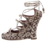 Tabitha Simmons Embossed Leather Wedge Sandals