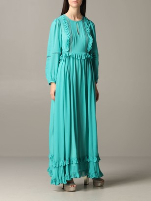 Twin-Set Long Dress With Micro Ruffles