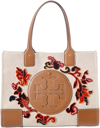 Tory Burch Ella Coupe Mini Canvas & Leather Tote