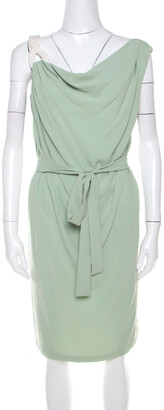 Escada Pistachio Green Crepe Contrast Trim Draped Sleeveless Doutzen Dress L