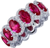 Lafonn Platinum Over Sterling Silver Micro Pave Simulated Diamond & Red Lab Ruby Oval Eternity Ring