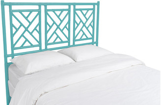 David Francis Furniture Chippendale Headboard - Turquoise Queen