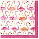 Boston International Flamingo Paper Cocktail Napkins, Set of 20