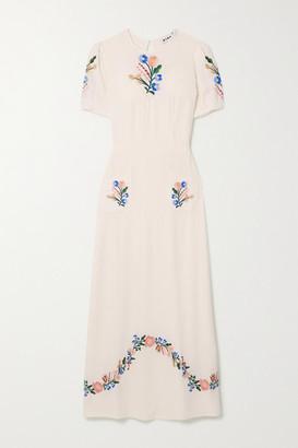Rixo Dominique Belted Embroidered Gauze Midi Dress - Cream