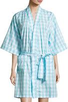BedHead Gingham Short Kimono Robe, Aqua