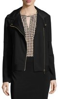 MICHAEL Michael Kors Ponté Faux-Leather Trim Moto Jacket, Black Pattern