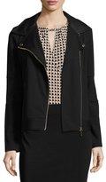 MICHAEL Michael Kors Ponté Faux-Leather Trim Moto Jacket, Black Pattern