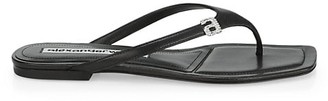 Alexander Wang Ivy Rhinestone Logo Leather Thong Sandals
