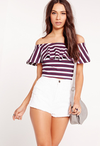 Missguided Ribbed Frill Stripe Bardot Crop Top Red/White