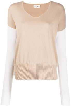 Ma Ry Ya Two-Tone Knitted Jumper